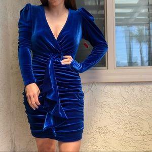 Brand New Miss Lola Blue Velvet Dress